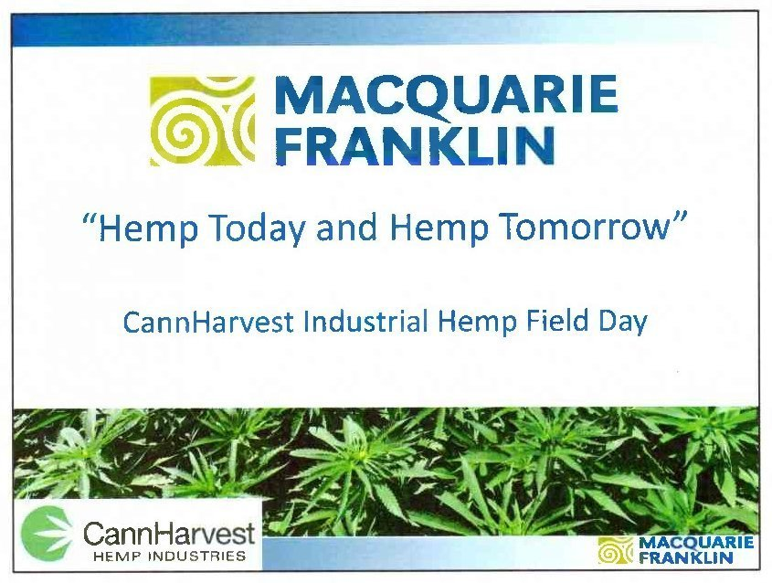 CannHarvest Field Day Notes