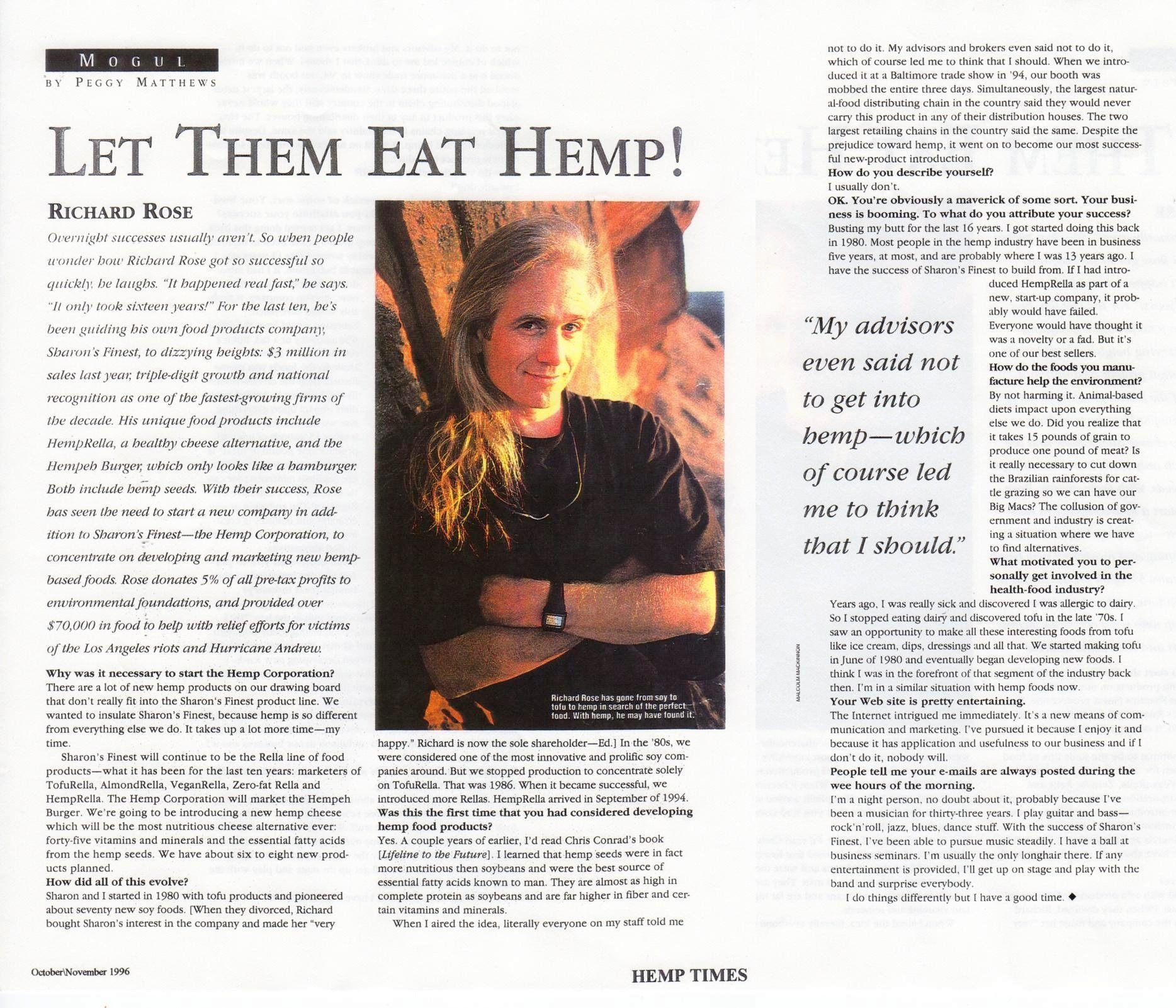 1996: Let Them Eat Hemp!