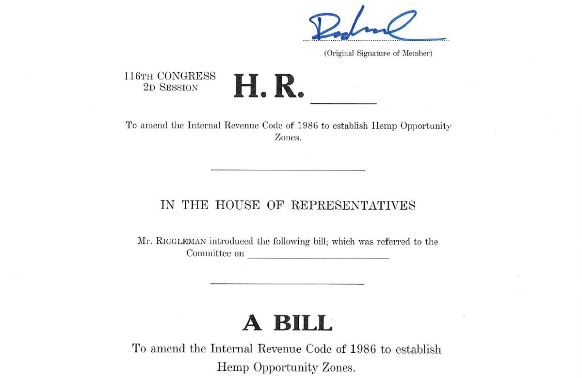 Hemp Opportunity Zone Act (HR 8131) Introduced