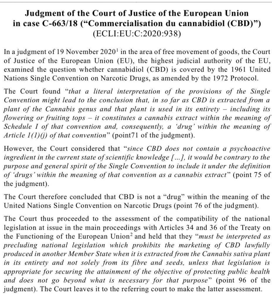E.U.: Hemp CBD Legal