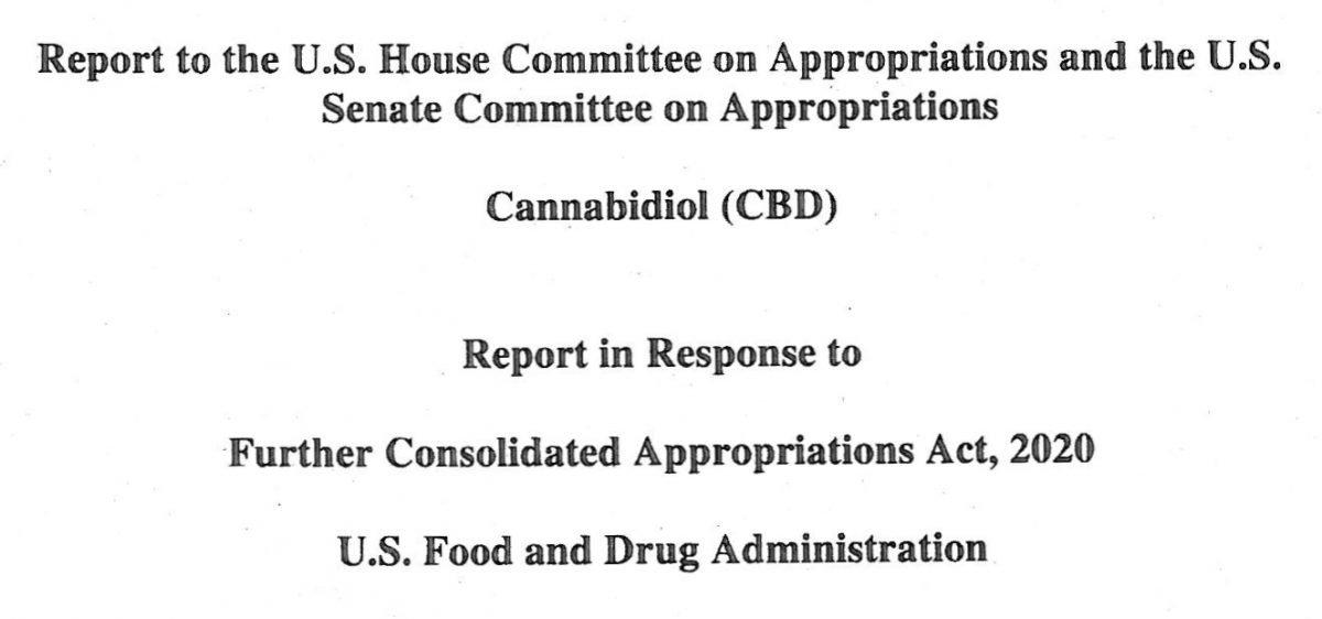 FDA Report on CBD to Congress